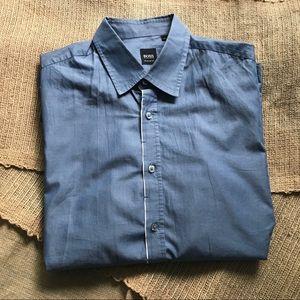 Hugo Boss Black Label Blue Shirt Sz L